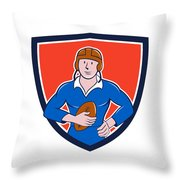 Vintage French Rugby Player Holding Ball Crest Cartoon Throw Pillow