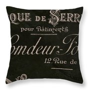 Vintage French Typography Sign Throw Pillow
