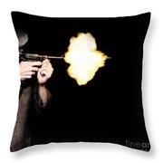 Vintage Gangster Man Shooting Gun On Black Throw Pillow