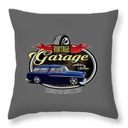 Vintage Garage With Nomad Throw Pillow