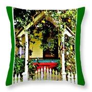 Vintage Garden Arbor Gate Throw Pillow