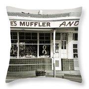 Vintage Gas Station Throw Pillow