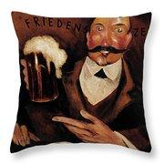 Vintage German Beer Advertisement, Friends Drinking Bier Throw Pillow