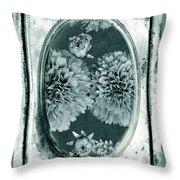 Vintage Glass Cyanoplate Dahlias Throw Pillow