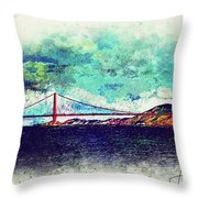 Vintage Golden Gate Throw Pillow