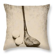 Vintage Golf Artwork Throw Pillow