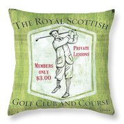 Vintage Golf Green 1 Throw Pillow