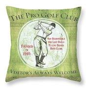 Vintage Golf Green 2 Throw Pillow