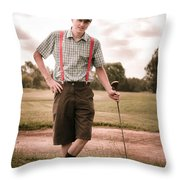 Vintage Golf Throw Pillow