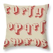 Vintage Gothic Font Red Throw Pillow