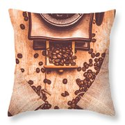 Vintage Grinder With Sacks Of Coffee Beans Throw Pillow