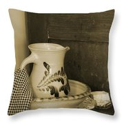 Vintage Grooming Set And Stoneware Water Pitcher In Sepia Tones Throw Pillow