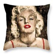 Vintage Grunge Goddess Marilyn Monroe  Throw Pillow