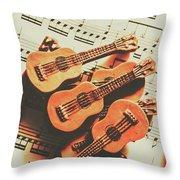 Vintage Guitars On Music Sheet Throw Pillow