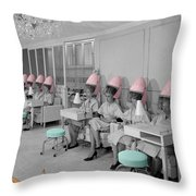 Vintage Hair Salon Throw Pillow