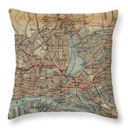 Vintage Hamburg Railway Map - 1910 Throw Pillow