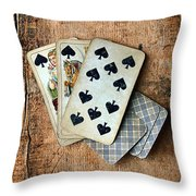 Vintage Hand Of Cards Throw Pillow