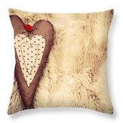 Vintage Handmade Plush Heart Pillow On The Soft Blanket Throw Pillow