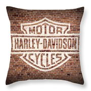 Vintage Harley Davidson Logo Painted On Old Brick Wall Throw Pillow