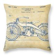 Vintage Harley-davidson Motorcycle 1924 Patent Artwork Throw Pillow by Nikki Smith