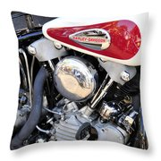 Vintage Harley V Twin Throw Pillow by David Lee Thompson