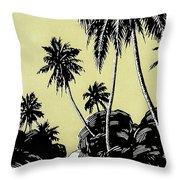 Vintage Hawaii Palms Throw Pillow