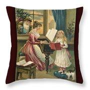 Vintage Hearty Christmas Postcard Throw Pillow