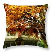 Vintage Home In Autumn Throw Pillow