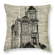 Vintage House Over Dictionary Page Throw Pillow