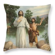 Vintage Illustration Of The Baptism Of Christ Throw Pillow