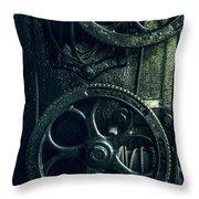 Vintage Industrial Wheels Throw Pillow
