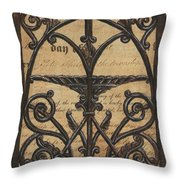 Vintage Iron Scroll Gate 1 Throw Pillow