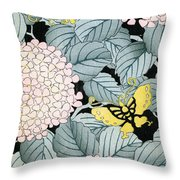 Vintage Japanese Illustration Of A Hydrangea Blossoms And Butterflies Throw Pillow