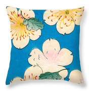 Vintage Japanese Illustration Of Dogwood Blossoms Throw Pillow