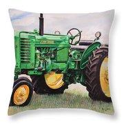 Vintage John Deere Tractor Throw Pillow