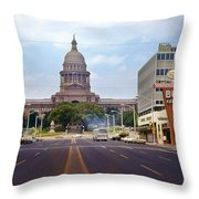Vintage July 1968 View Looking Up Congress Avenue To The Texas State Capitol Throw Pillow
