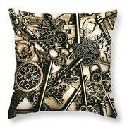 Vintage Keys On Wooden Table Throw Pillow