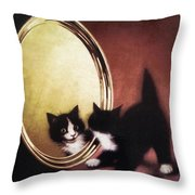 Vintage Kitty Cat Throw Pillow