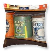 Vintage Lard Can Throw Pillow