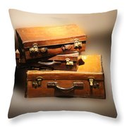 Vintage Leather Suitcases Throw Pillow