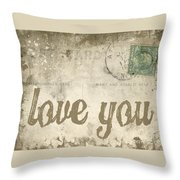 Vintage Love Letters Throw Pillow