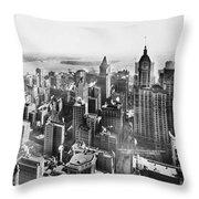 Vintage Lower Manhattan Skyscraper Photo - 1913 Throw Pillow