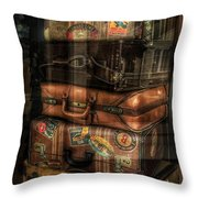 Vintage Luggage In Shop Window Throw Pillow
