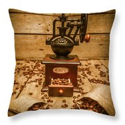 Vintage Manual Grinder And Coffee Beans Throw Pillow