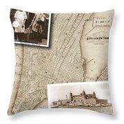 Vintage Map Ellis Island Immigrants Throw Pillow
