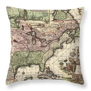 Vintage Map Of America - 1720 Throw Pillow