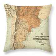 Vintage Map Of Argentina - 1882 Throw Pillow