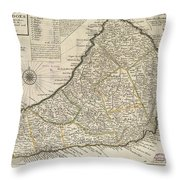 Vintage Map Of Barbados - 1736 Throw Pillow