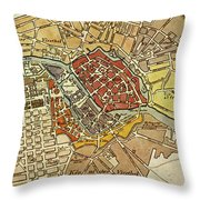 Vintage Map Of Berlin Germany - 1789 Throw Pillow