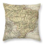 Vintage Map Of Brazil - 1889 Throw Pillow